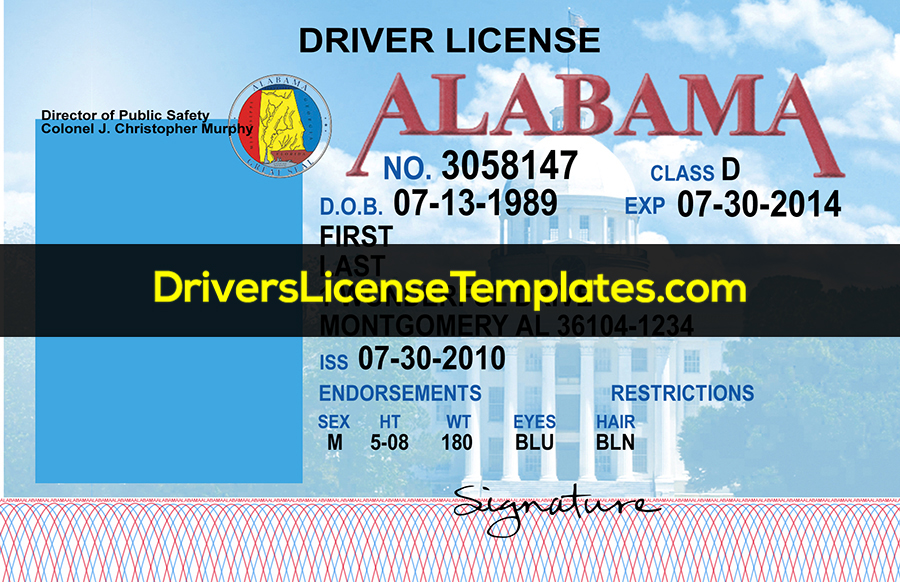 Alabama Drivers License Template New Front