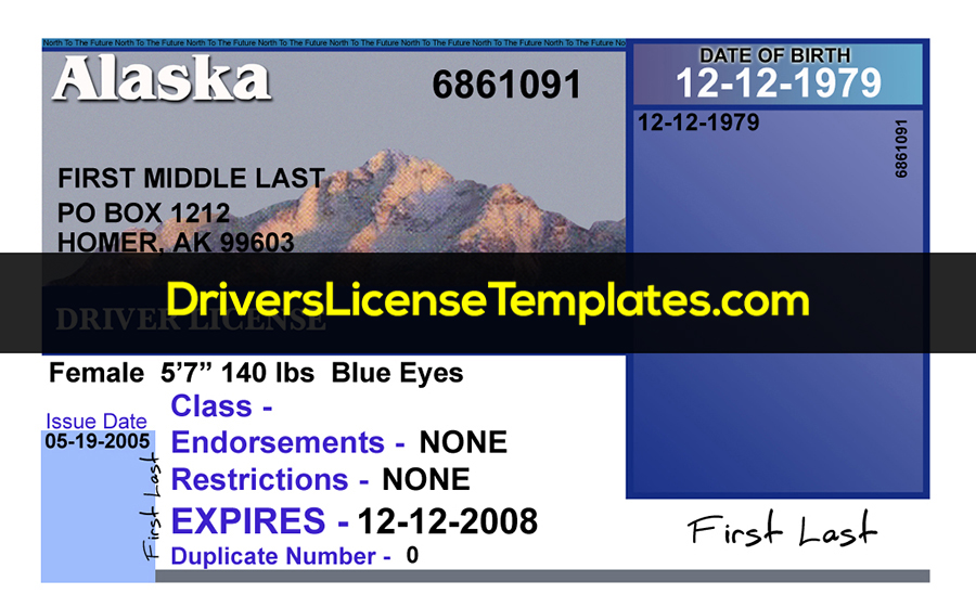 Alaska Drivers License Template New Front