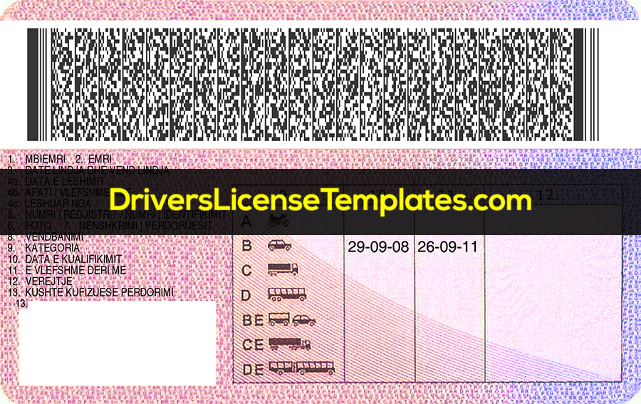 Albania Drivers License Template New Back