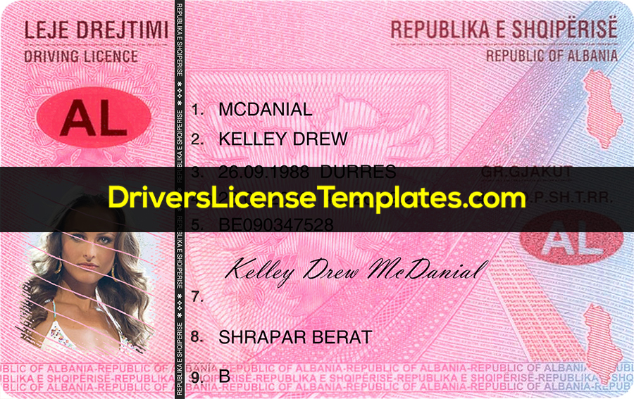 Albania Drivers License Template New Front