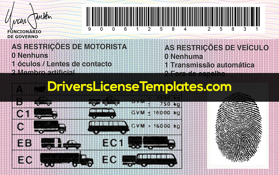 Angola Drivers License Template New Back