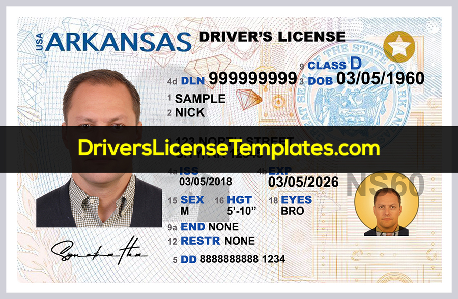 Arkansas drivers license front psd