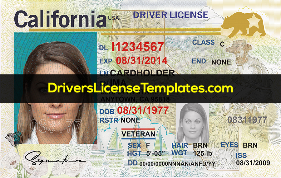 California Driver License Front HD