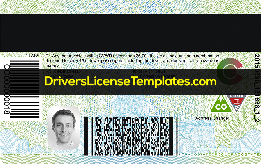 Colorado Drivers License Back New PSD template