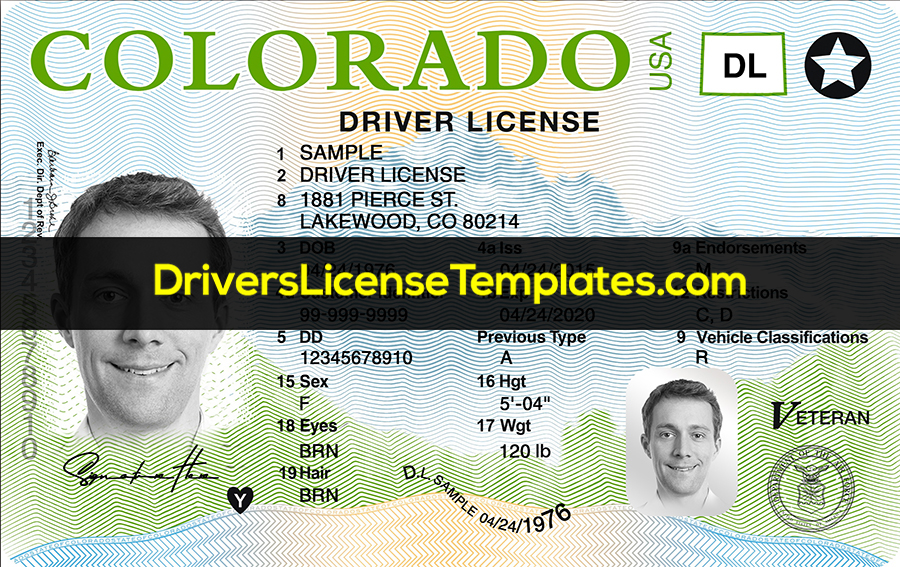 Colorado Drivers License Front New PSD template