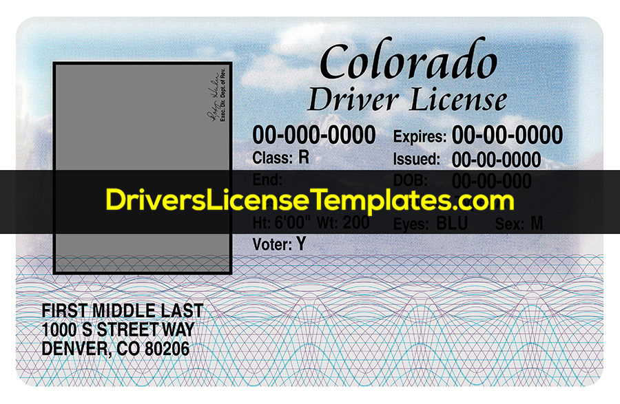 Colorado Drivers License Front PSD template