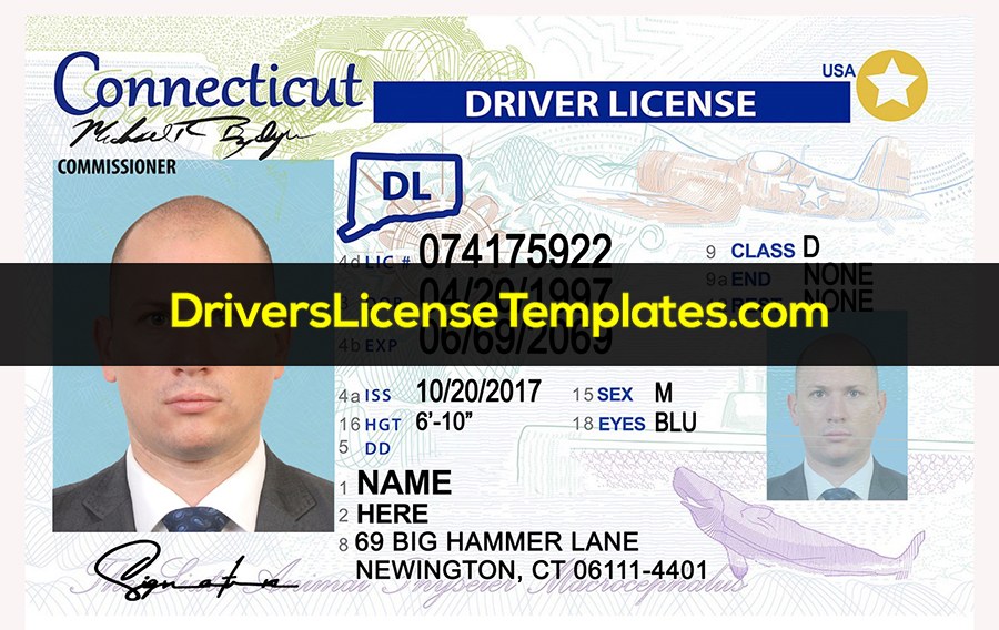 Connecticut Drivers License Front New PSD template