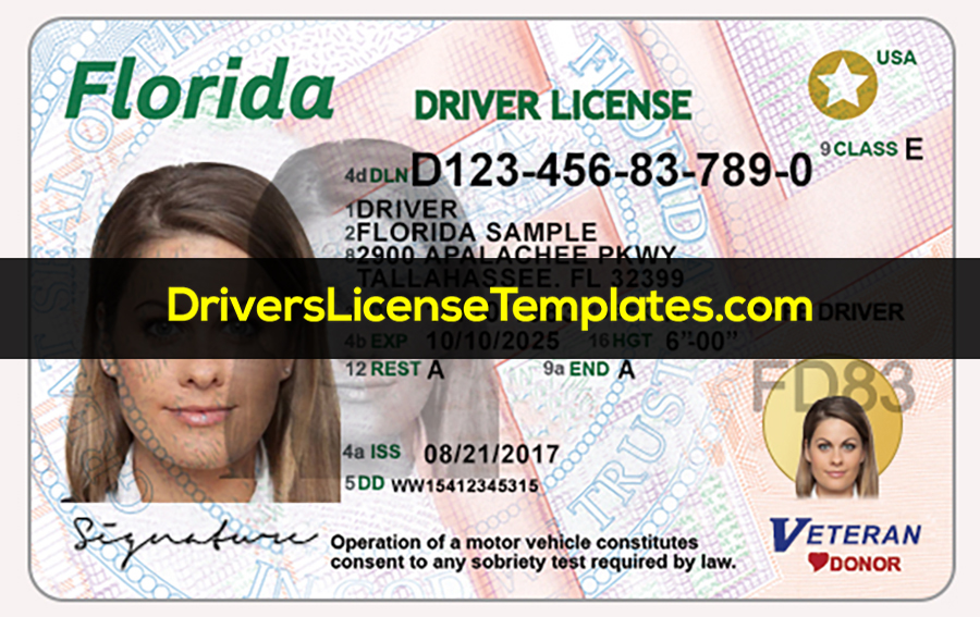 Florida Drivers License Front New PSD template
