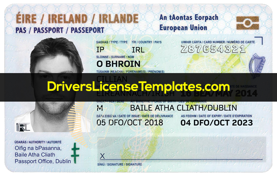 Ireland ID Card Template Front