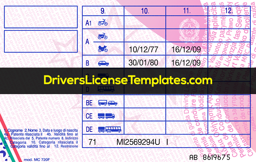 Italy Drivers License Template New Back