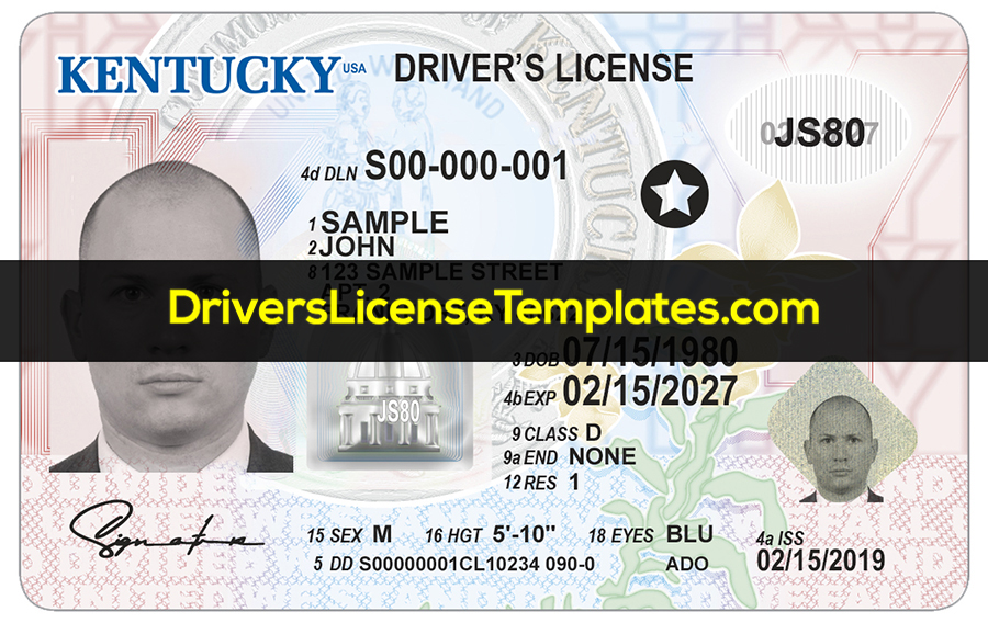 Kentucky Driver License Template New Front