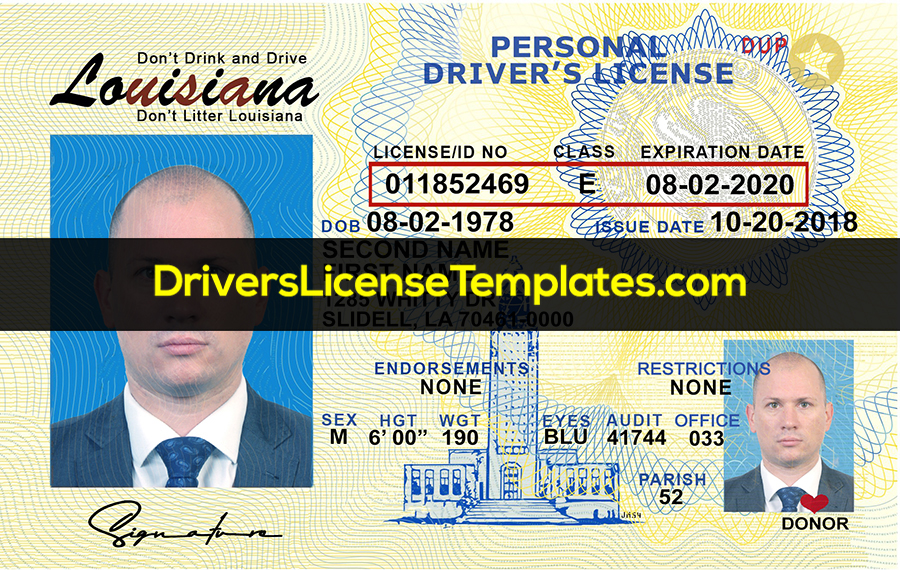 Louisiana Driver License Template New Front