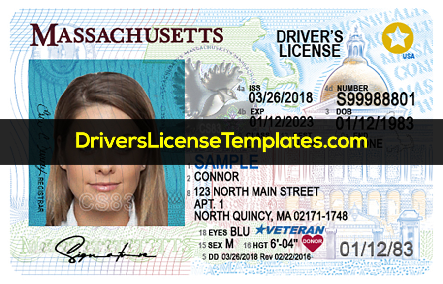 Massachusetts Drivers License Front New PSD template