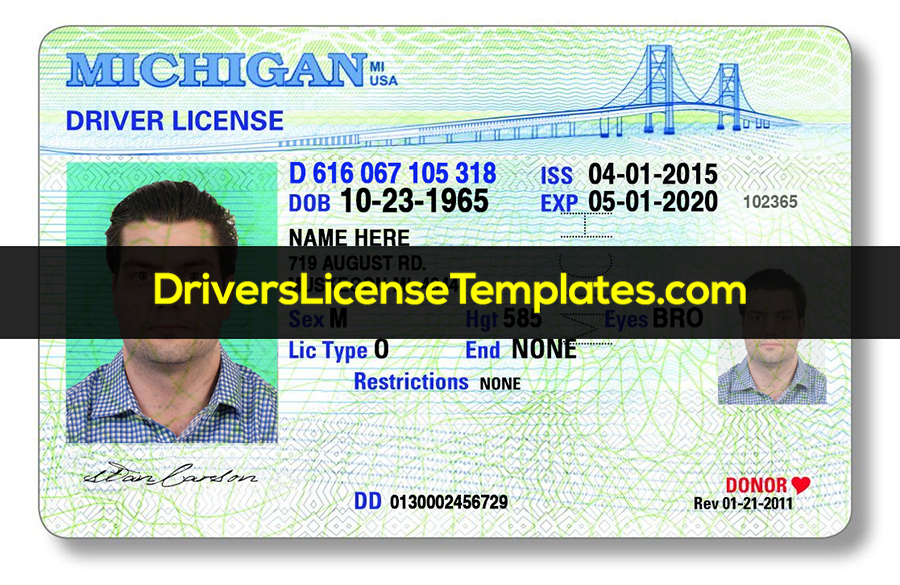 Michigan Drivers License Front New PSD template