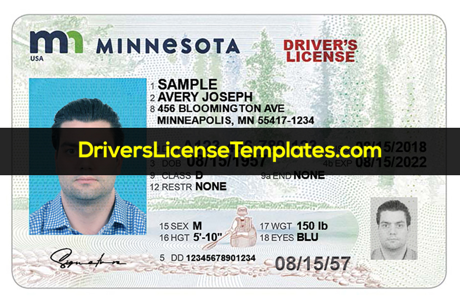 Minnesota Driver License Template Front