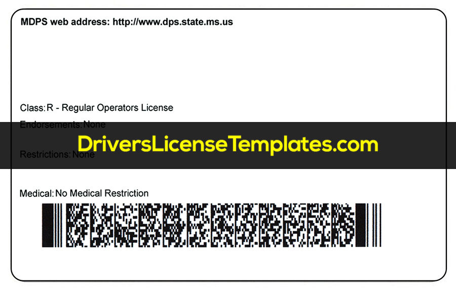Mississippi Drivers License Template PSD Back