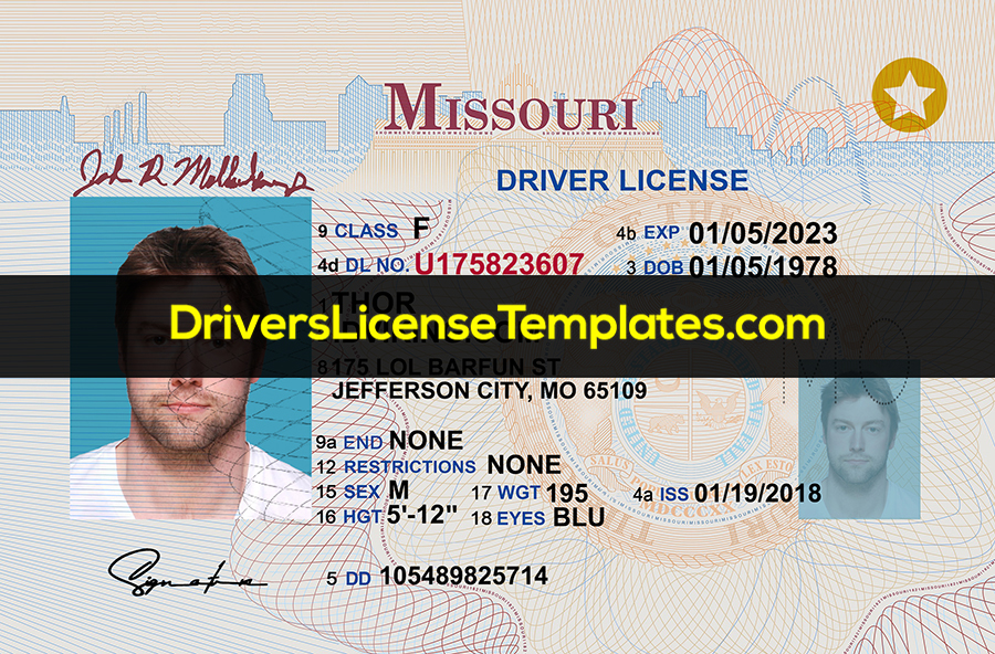 Missouri Driver License Template PSD Front