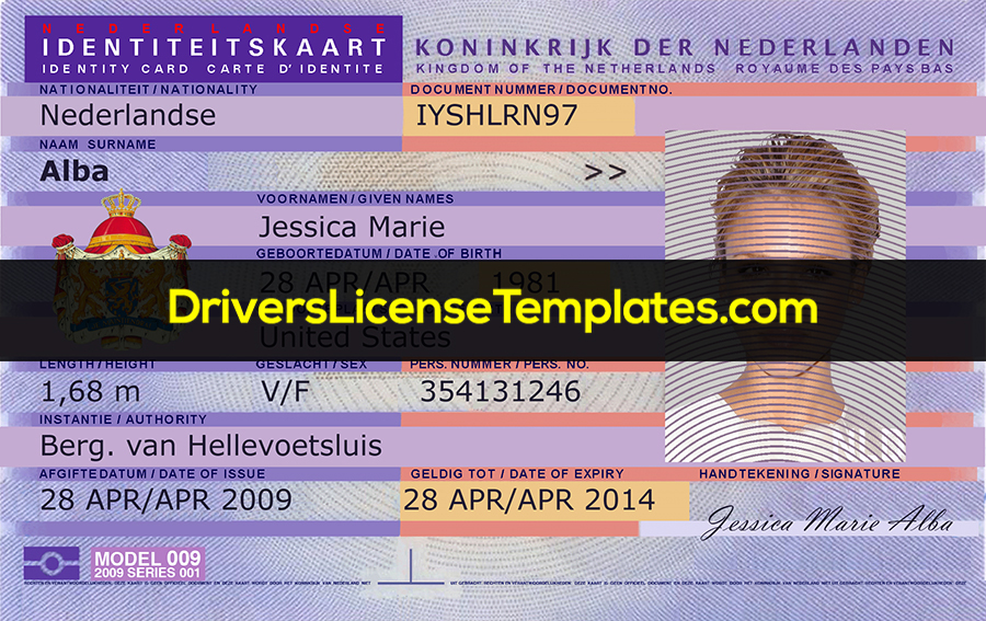 Netherlands ID Card PSD template