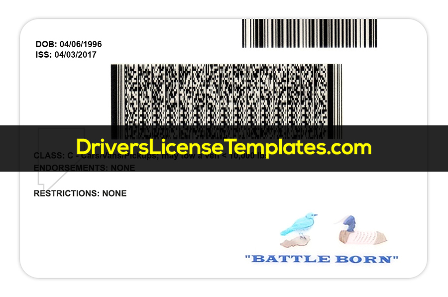 Nevada Driver license Template Back