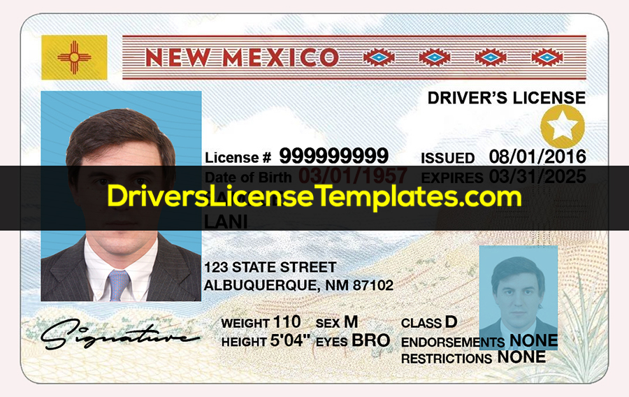 New Mexico Driver License Template PSD