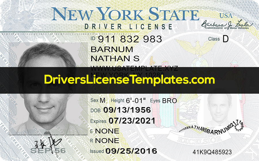 New York Drivers License Front New PSD template