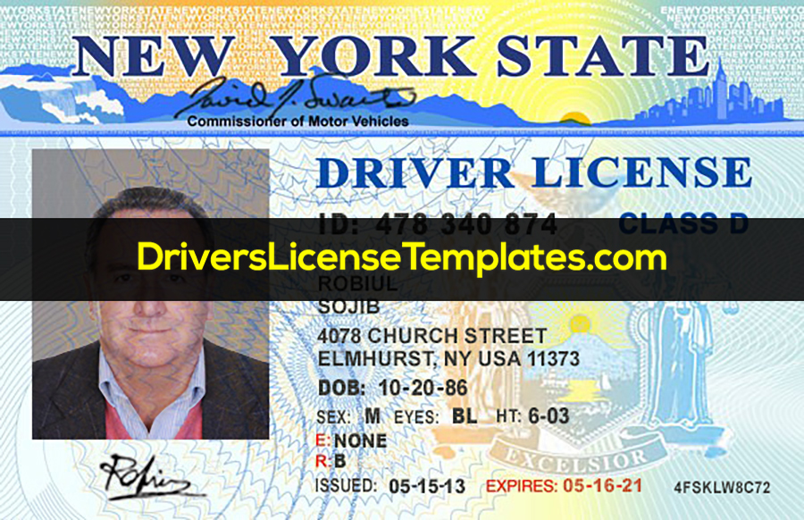 New York Drivers License Front PSD template