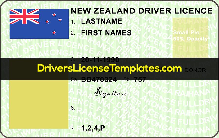 New Zealand Drivers License Template New Front