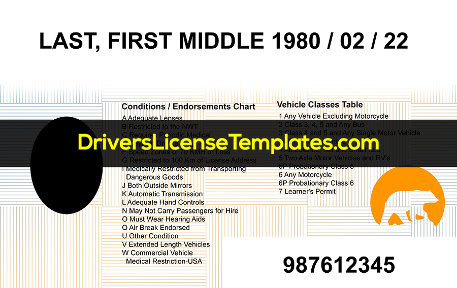 Northwest Territories Drivers License Template New Back