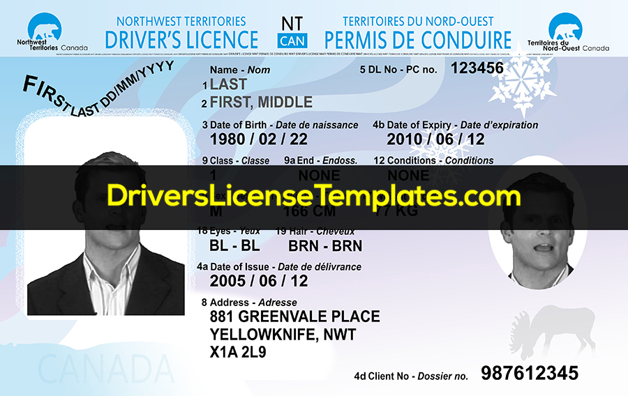 Northwest Territories Drivers License Template New Front