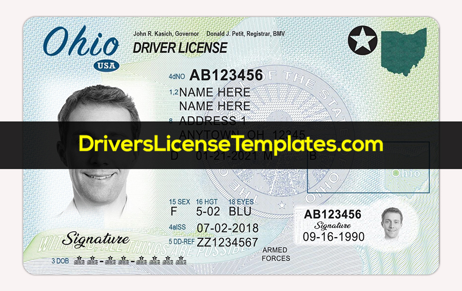 Ohio Drivers License PSD Template Front new