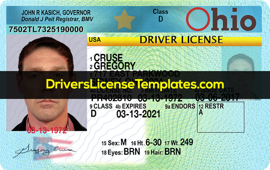 Ohio Drivers License PSD Template Front