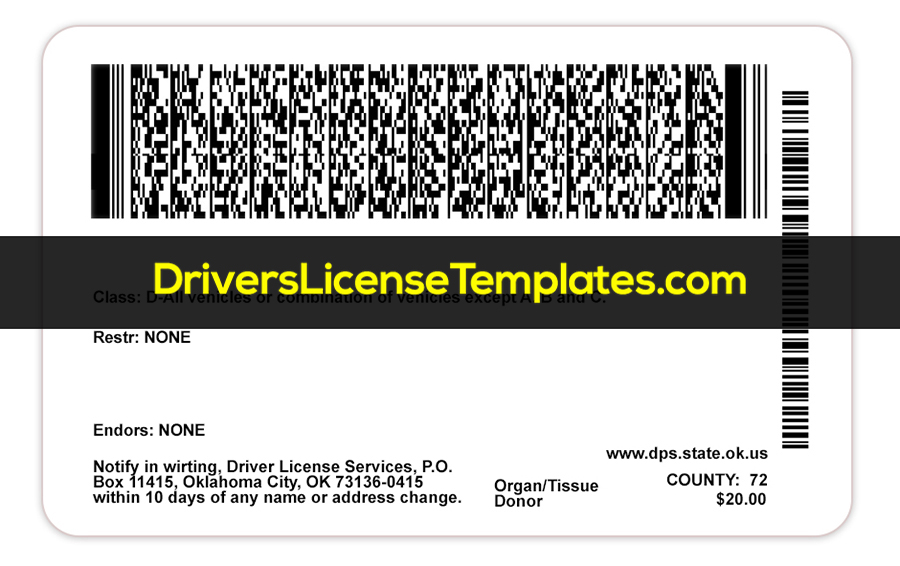 Oklahoma Driver License Template New Back