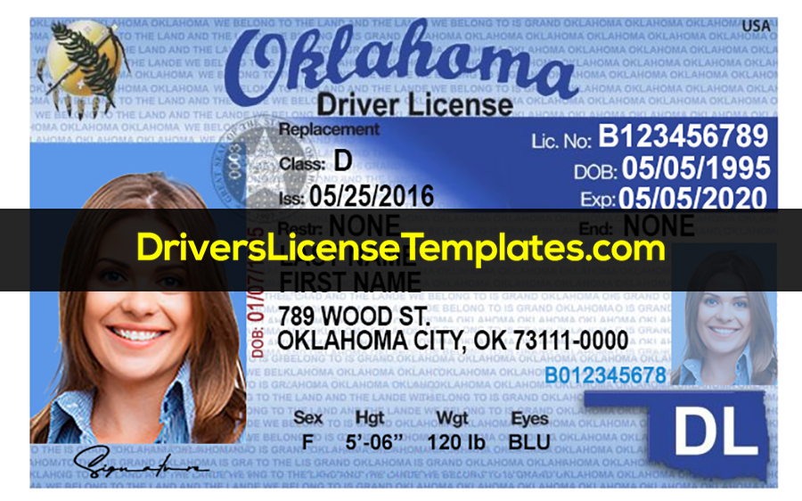 Oklahoma Drivers License Template New Front