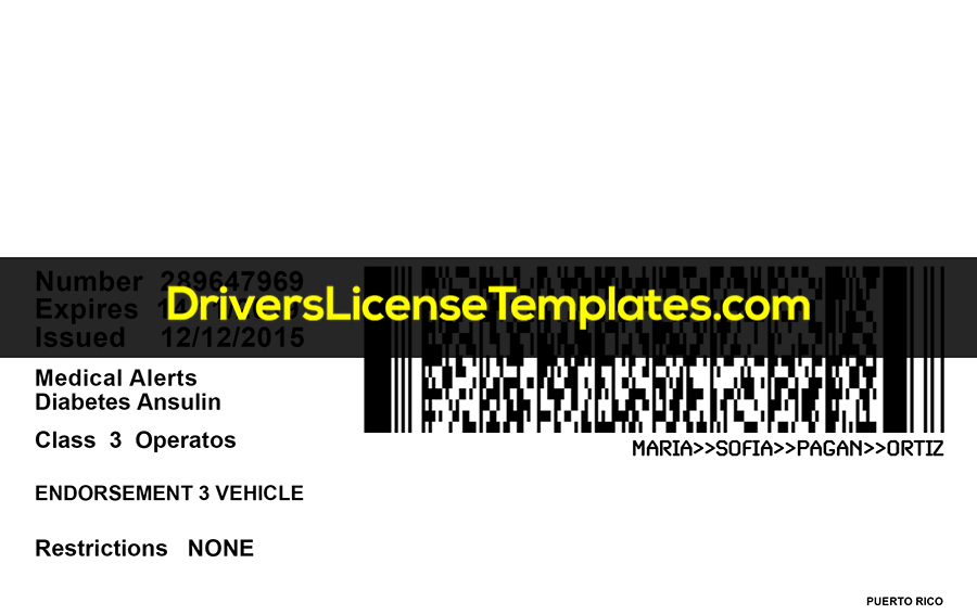 PUERTO RICO Drivers License Template New Back