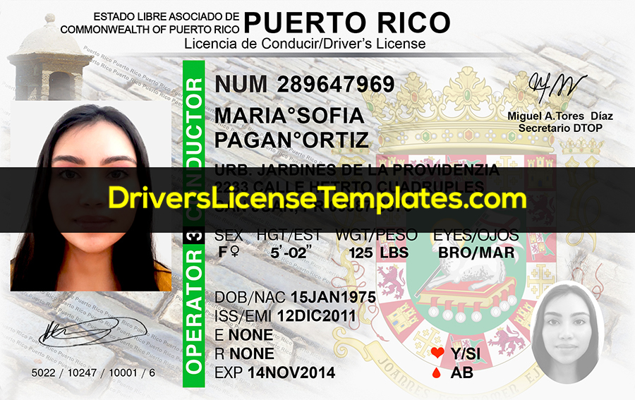 PUERTO RICO Drivers License Template New Front