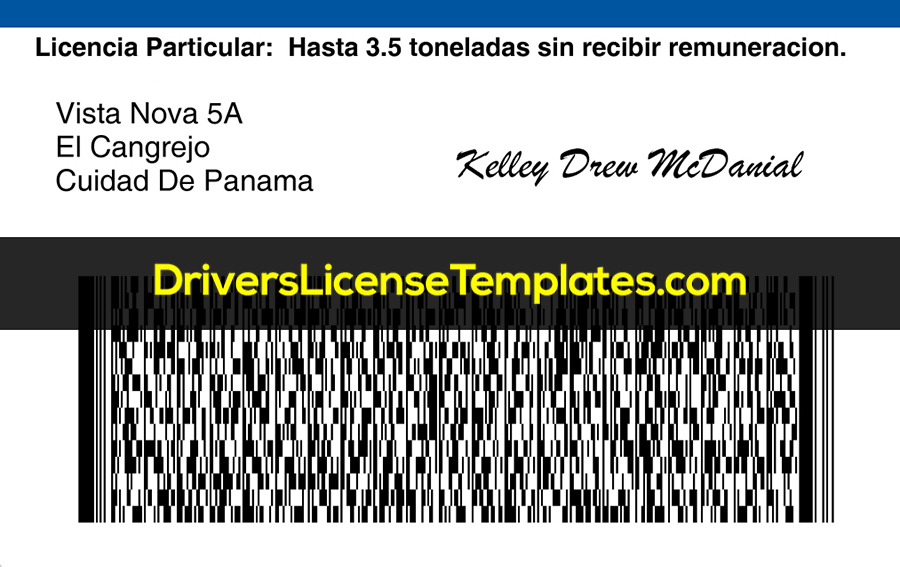 Panama Drivers License Template New Back