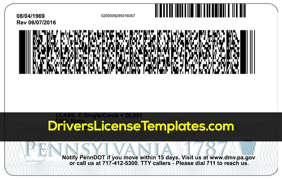 Pennsylvania Drivers license template psd back