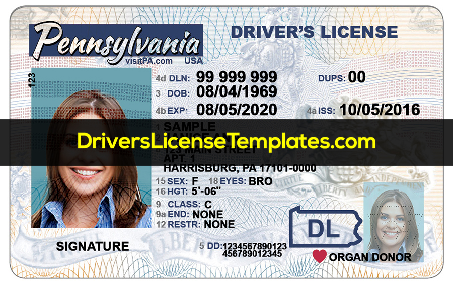 Pennsylvania Drivers license template psd front