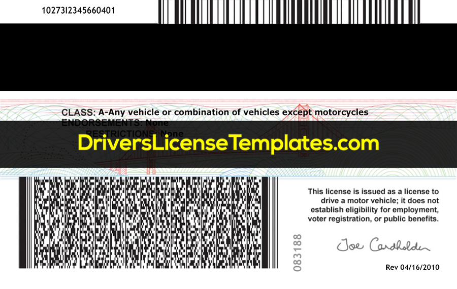 Rhode Island Drivers License Template New Back