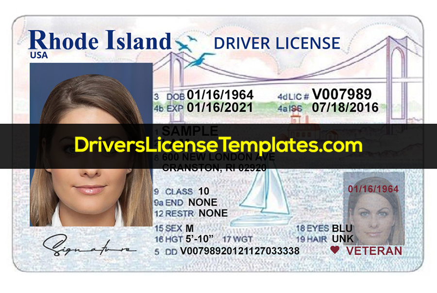 Rhode Island Drivers License Template New Front