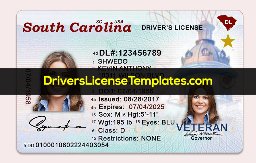 South Carolina Drivers License Template New Front