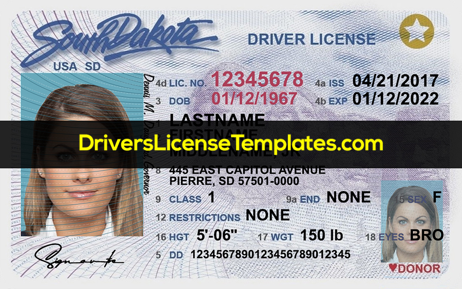 South Dakota Drivers License Template New Front