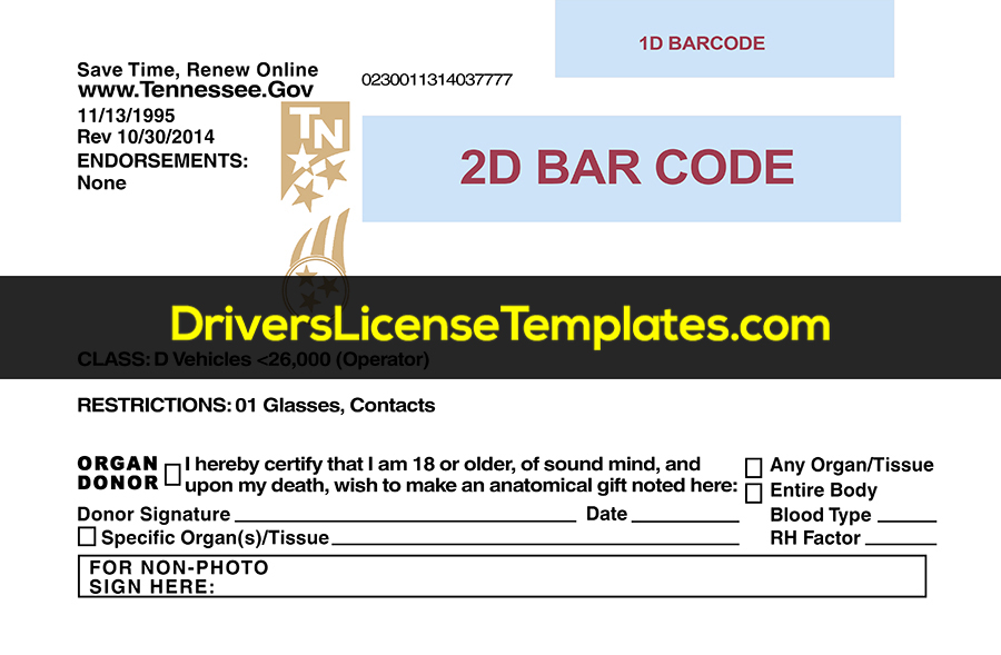 Tennessee Drivers License Template New Back