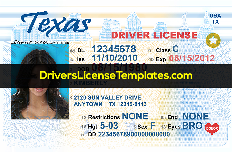 Texas Drivers License Template New Front