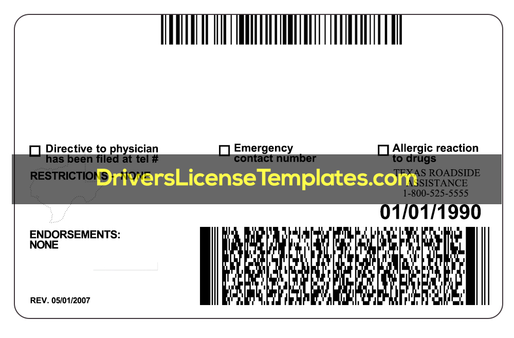 Texas Drivers License Template PSD New Back 2020