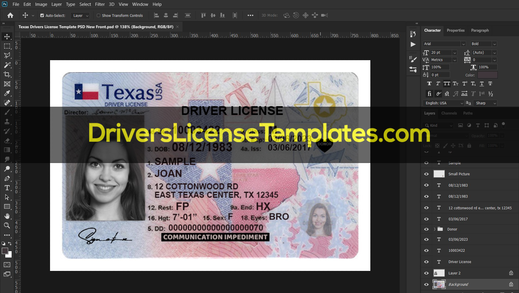 Texas Drivers License Template PSD New Front 2020
