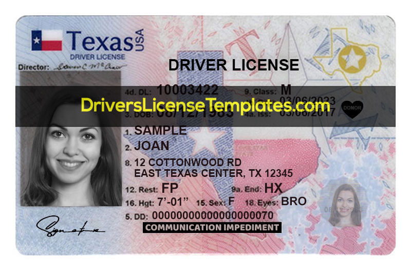 Texas Drivers License Template PSD New Front HD 2021