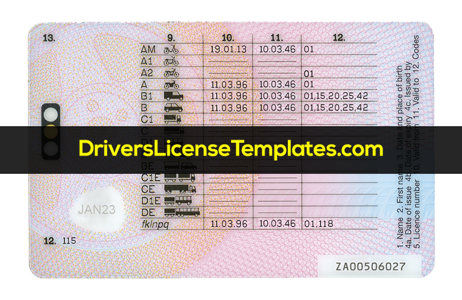 UK Drivers License Template Back Front