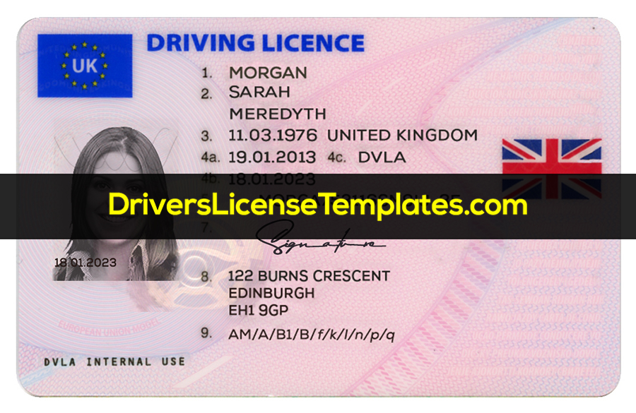 UK Drivers License Template New Front