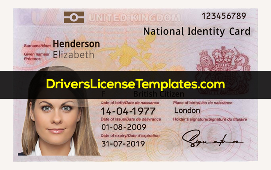 UK ID Card PSD Template New HD